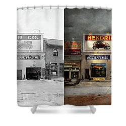 Shower Curtain featuring the photograph Car - Garage - Hendricks Motor Co 1928 - Side By Side by Mike Savad