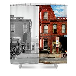 Shower Curtain featuring the photograph Car - Garage - Misfit Garage 1922 - Side By Side by Mike Savad