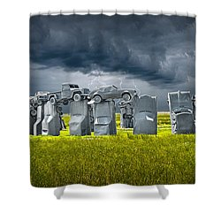 Car Henge In Alliance Nebraska After England's Stonehenge Shower Curtain by Randall Nyhof