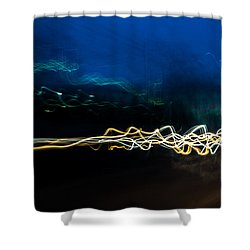 Car Light Trails At Dusk In City Shower Curtain