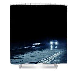 Car On A Rainy Highway At Night Shower Curtain by Jill Battaglia