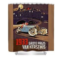 Car Racing Christmas Poster Of The 30s Shower Curtain