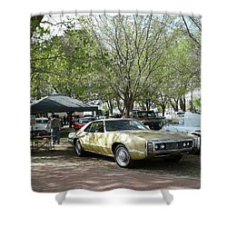 Shower Curtain featuring the pyrography Car Show Saturday by Jack Pumphrey