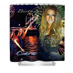 Cara Earth Angels Birthday Shower Curtain