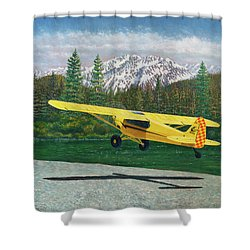Carbon Cub Riverbank Takeoff Shower Curtain