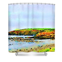 Shower Curtain featuring the painting Cardigan Bay by Angela Treat Lyon