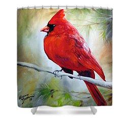 Cardinal 18 Shower Curtain by Marcia Baldwin