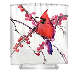 Cardinal And Berries Shower Curtain