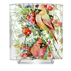 Cardinal Birds And Hawthorn Shower Curtain
