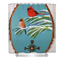 Cardinal Clock Shower Curtain