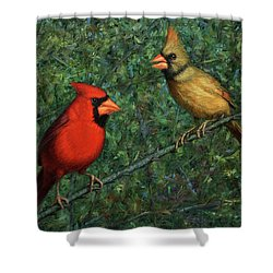 Cardinal Couple Shower Curtain by James W Johnson