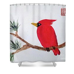 Cardinal In My Backyard Shower Curtain