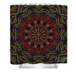 Cardinal Kaleidoscope Shower Curtain by Judy Wolinsky