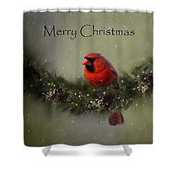 Cardinal Merry Christmas Shower Curtain