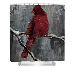 Cardinal North Carolina State Bird In Snow Shower Curtain