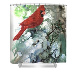 Shower Curtain featuring the painting Cardinal by Sherry Shipley