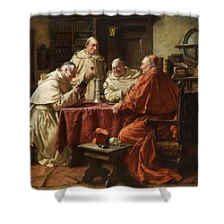 Cardinal With Monks Shower Curtain by Fritz Wagner