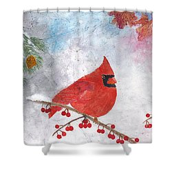 Cardinal With Red Berries And Pine Cones Shower Curtain