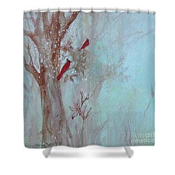 Shower Curtain featuring the painting Cardinals In Trees Whilst Snowing by Robin Maria Pedrero