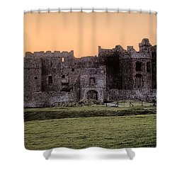 Carew Castle Coral Sunset Shower Curtain