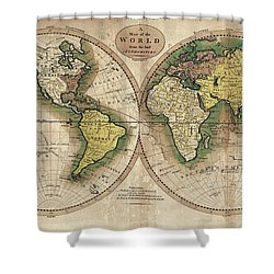 Shower Curtain featuring the photograph Carey's Map Of The World  1795 by Daniel Hagerman