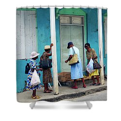 Shower Curtain featuring the photograph Caribbean Blue, Speightstown, Barbados by Kurt Van Wagner