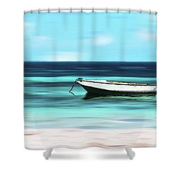 Caribbean Dream Boat Shower Curtain