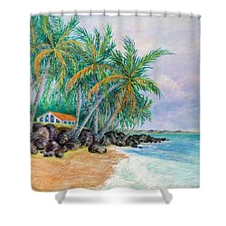 Shower Curtain featuring the painting Caribbean Retreat by Susan DeLain