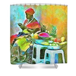 Caribbean Scenes - De Fruit Lady Shower Curtain