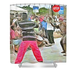 Shower Curtain featuring the painting Caribbean Scenes - De Stick Fight by Wayne Pascall