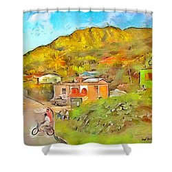 Shower Curtain featuring the painting Caribbean Scenes - De Village by Wayne Pascall
