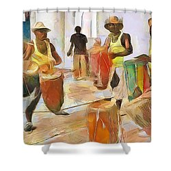 Shower Curtain featuring the painting Caribbean Scenes - Folk Drummers by Wayne Pascall