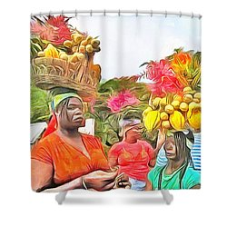 Shower Curtain featuring the painting Caribbean Scenes - Headstrong Women by Wayne Pascall