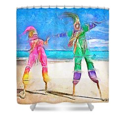 Caribbean Scenes - Moko Jumbie Shower Curtain