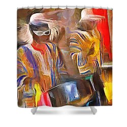Caribbean Scenes - Pan And Drums Shower Curtain