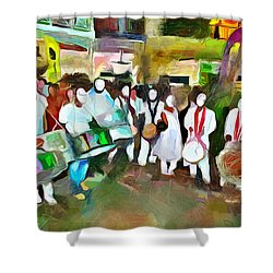 Caribbean Scenes - Pan And Tassa Shower Curtain
