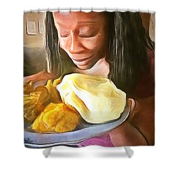 Shower Curtain featuring the painting Caribbean Scenes - Roti, Pumpkin And Curry Chicken by Wayne Pascall