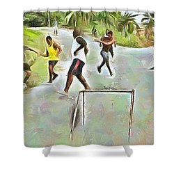 Caribbean Scenes - Small Goal In De Street Shower Curtain