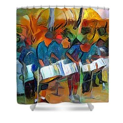 Caribbean Scenes - Steel Band Practice Shower Curtain