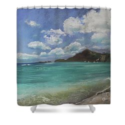 Shower Curtain featuring the pastel Caribbean Sea Day Antigua by Robin Maria Pedrero
