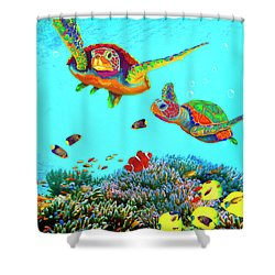 Caribbean Sea Turtles And Reef Fish Vertical Shower Curtain