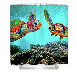 Caribbean Sea Turtles Shower Curtain