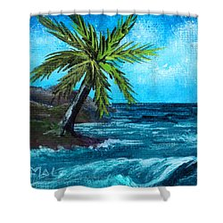 Shower Curtain featuring the painting Caribbean Vacation #1 by Anastasiya Malakhova