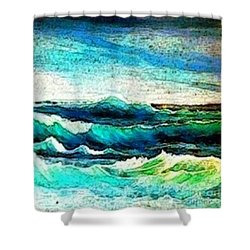 Caribbean Waves Shower Curtain by Holly Martinson