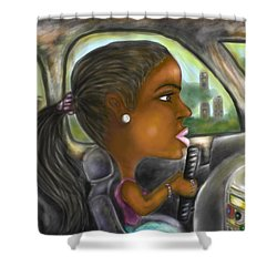 Caricature Ride With Jay Shower Curtain