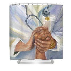 Shower Curtain featuring the painting Caring A Tradition Of Nursing by Marlyn Boyd