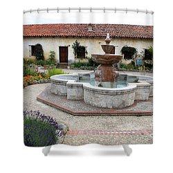 Carmel Mission Courtyard Shower Curtain by Carol Groenen
