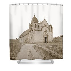 Carmel Mission South Side Circa 1915 Shower Curtain by California Views Mr Pat Hathaway Archives