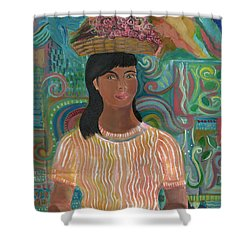 Shower Curtain featuring the painting Carmelita by John Keaton