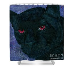 Shower Curtain featuring the painting Carmilla - Black Panther Vampire by Carrie Hawks